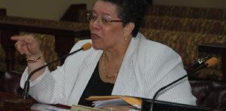 Casino Control Commission Chair Violet Ann Golden testifies before the Legislature in 2015. (Photo by Barry Leerdam, the V.I. Legislature)