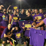 The Archers celebrate their win in the championship of the Mens Summer Flag Football League. (Photo by Francisco Jarvis)