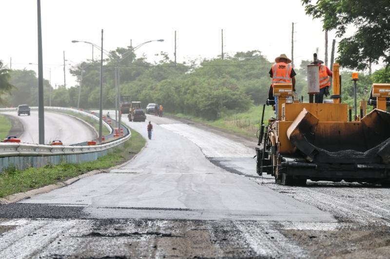 A Public Works crew in 2018 resurfaces a stretch of Melvin Evans Highway. (Source file photo)