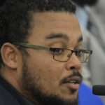 VIPA Assistant Executive Director Damian Cartwright at Tuesday's budget hearing. (Photo by Barry Leerdam, V.I. Legislature)