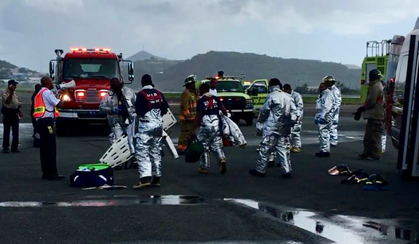 Emergency responders take part in a drill at the Cyril E. King Airport. (VIPA photo)