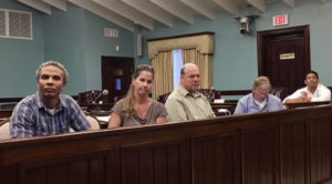 NOAA staff listen to testimony in August 2017 at St. John Legislature Annex, CZM Director JP Oriol, sits at far right.