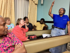 St. John residents have plenty to say at the August 2017 CZM hearing conducted by NOAA on St John.