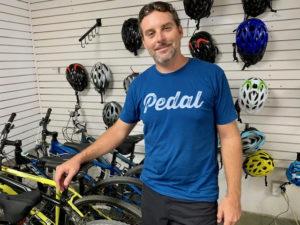Aaron Hutchins in his St. Croix bike shop. Anne Salafia photo)