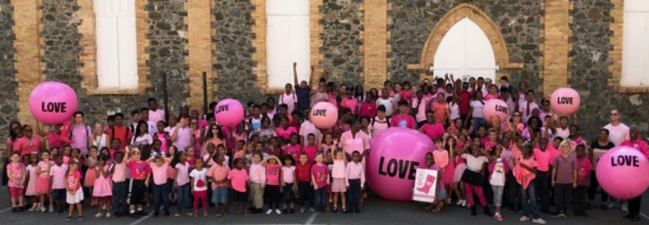 Students and staff at All Saints Cathedral School students rally for cancer awareness in October. (From Barbara Michaud's Facebook page)