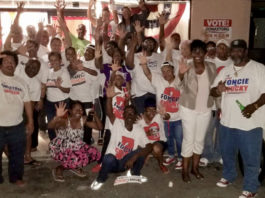 Sen. Alicia 'Chucky' Hansen and supporters of the Adlah 'Foncie' Donastorg/Hansen ticket join with members of the Albert Bryan/Sen. Tregenza Roach campaign Thursday evening. (Photo submitted by the Bryan/Roach campaign)