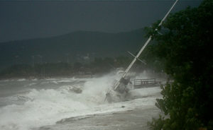 A boat is driven ashore by the winds of Hurricane Earl in 2010. (File photo)