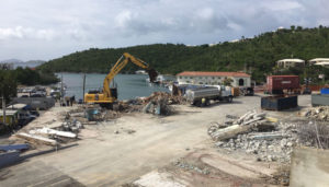 The Lumberyard Complex in Cruz Bay being cleared in October, s year after it was torn apart by Hurricane Irma.