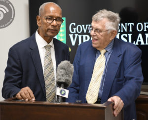 BVI Premier Orlando Smith and Audubon Holdings owner Dr. Henry Jarecki announce development plans for Norman Island on Nov. 22. (BVI Government photo by Ronnielle Frazer)
