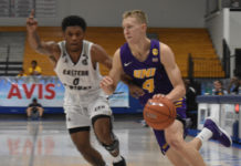 Northern Iowa's A.J. Green drives on Eastern Kentucky during Saturday's action at the UVI Sports and Fitness Center.