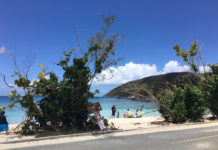 The beach at Maho Bay. Officials warned beachgoers to leave their valuables at home rather than in their car or at the beach.