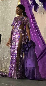 Runnr-up Patrice Shannon wears a gown as part of the Miss St. Croix pageant. (Elisa McKay photo)