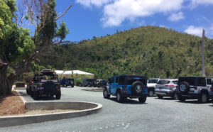 The parking lot at Maho Bay.