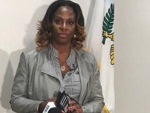 Delegate to Congress Stacey Plaskett speaks Tuesday at a news conference.