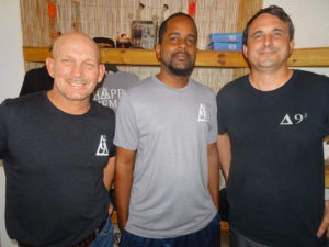 The 840 STX partners Kevin Merillat, Garfield Connor and Bill Kaltenbaugh are ready for business, photo by Anne Salafia 2019