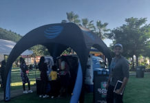 Justin Trinidad with the new AT&T mobile store for the U.S. Virgin Islands. (AT&T photo)