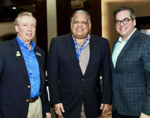 From left, Frank Comito of the Caribbean Hotel and Tourism Association, Tourism commissioner designee Joe Boschulte, and and Matt Cooper, also of CHTA, at the Caribbean Travel Marketplace in Montego Bay, Jamaica. (Photo submitted by the V.I. Department of Tourism)