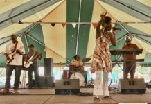 From left, Glenn Parris on guitar, Mario Thomas on bass, drummer Ipa Williams, Blakness and Ozzie Bowen on keyboard perform at the 48th annual Agriculture Fair.