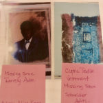 A photo in the V.I. Government's archive shows the missing Aline M. Kean painting of Wilmot Blyden, with the note, 'Missing since Farrelly Admin,' and of photo of a missing ancient Coptic textile vestment and the note 'Missing since Schneider Adm.' (Image provided by Julio Encarnacion)