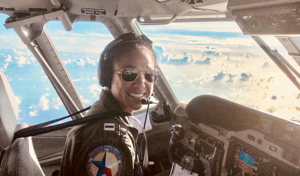Coast Guard Lt. Ronaqua Russell flies an HC-144 in support of Hurricane Maria response efforts. (U.S. Coast Guard photo)