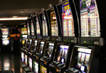 Slot machines in Las Vegas. (Public domain via Wikimedia)