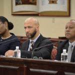 From left, JFL CEO Dyma Williams, Schneider Chief Medical Officer Luis Amaro, and Schneider VP of Facilities Darryl Smalls testify at Monday's hearing.