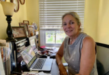 Apple Gidley at work on her next novel, as yet untitled, (Anne Salafia photo)