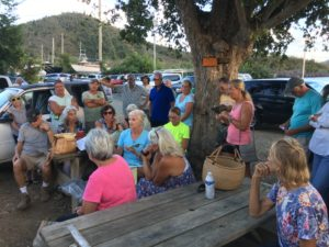 Community members converse with Lime Out owners. (Amy Roberts photo)