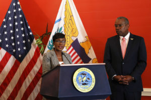 Attorney General Denise George-Counts and Gov. Bryan at a news conference in 2019, before her nomination to the office was confirmed.