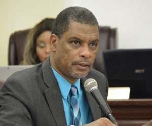 Sen. Kurt Vialet during a Senate committee hearing in March. (File photo by Barry Leerdam for the V.I. Legislature)