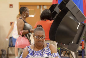 Sen. Donna Frett-Gregory (D-STT) was one of the 62 voters at the CAHS Gym precinct as of 3:40 p.m. on Saturday.