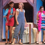 In a scene from 'Mamma Mia,' Donna and the Dynamos reminisce about the '70s, from left: Tanya played by Mayah Russell, Donna played by Avery White, Rosie played by Carolyn Grimm. (Elisa McKay photo)