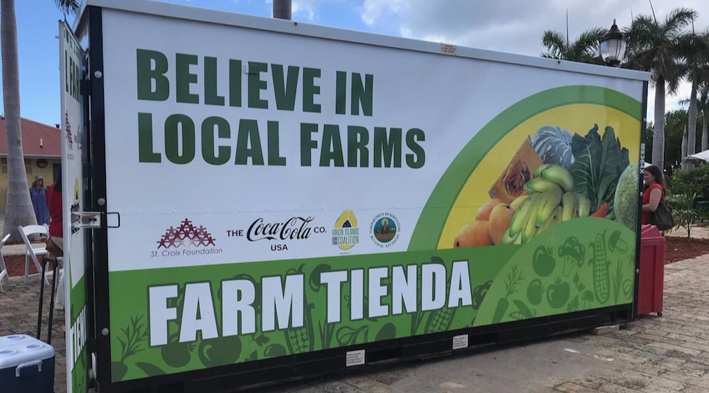 The front of a Farm Tienda, a 'pop-up' farm stand being donated to Crucian farmers by the St. Croix Foundation and the Coca Cola Company.. (Elisa McKay photo)