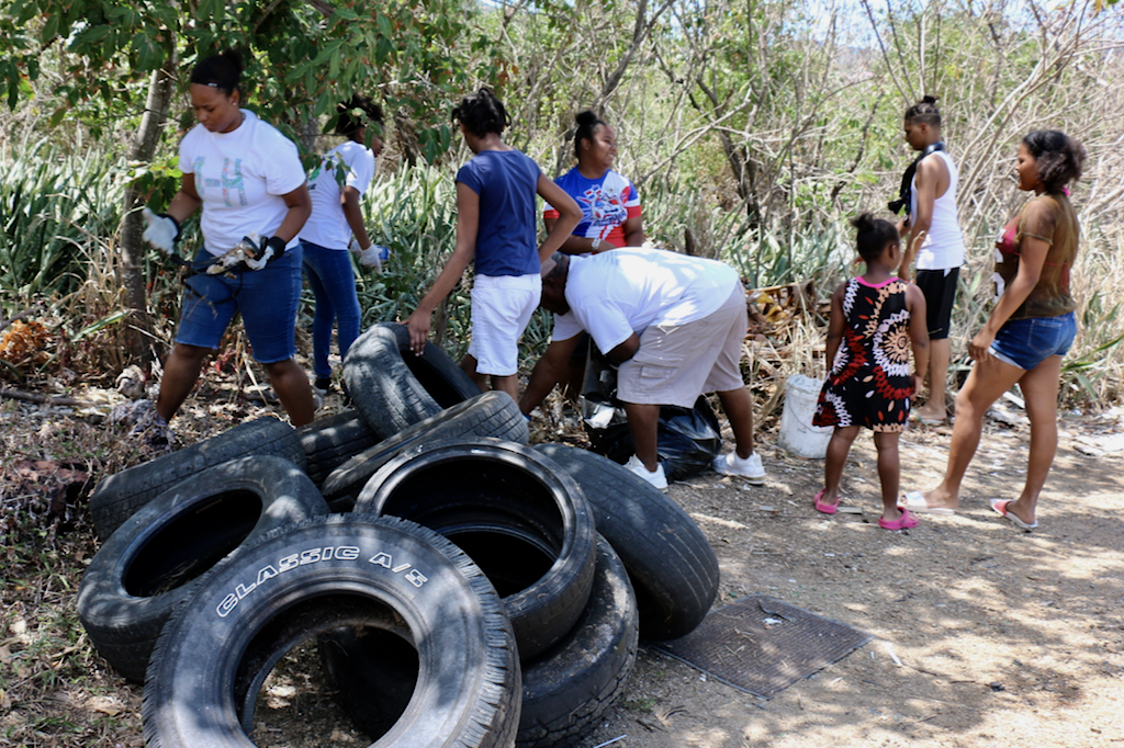 The beach cleanup turned up a dozen used tires Sunday. (Linda Morland photo)