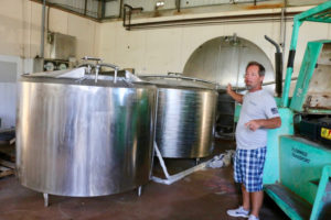 Passionate about repurposing, Manley talks about how Sion Farm Distillery hopes to use tanks left by Island Dairies. (Linda Morland photo)