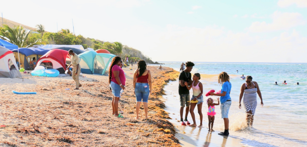 Campers of all ages enjoy a beautiful afternoon with friends and family, many of whom have been coming to Salt River for Easter Camping for 50 years. (Linda Morland photo)