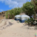 Tucked quietly into the far end of the beach, tents are haven of peace and privacy away from the activities. (Linda Morland photo)