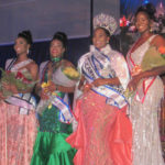 From left, Kimorah-Lin Blackett, Cha-Niesha Rhymer, 2019 VI Carnival Queen S'Ence Watley and Shelaya Mathurin are all smiles after the pageant.