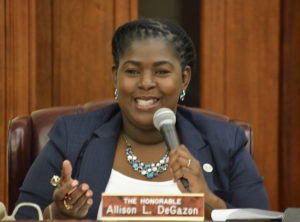 Sen. Allison Degazon (D-STT) questions Callwood and O'Neal at Tuesday's Finance Committee hearing. (Photo by Barry Leerdam, V.I. Legislature)