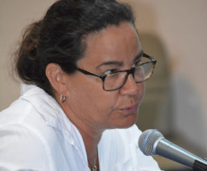 Dr. Laura Palminteri tells senators Tuesday that owners of race horses in the territory are in 'a difficult place.' (Photo by Barry Leerdam for the Legislature of the Virgin Islands)
