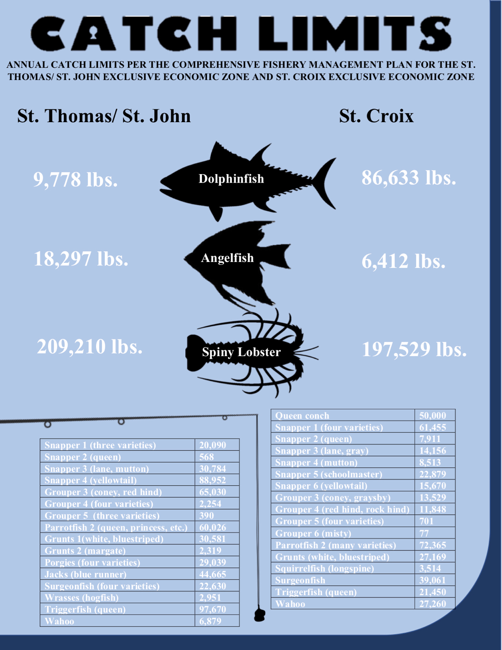 V.I. Caribbean Fishery Management Council proposes new catch limits for each jurisdiction. (Graphic by Bethaney Lee)