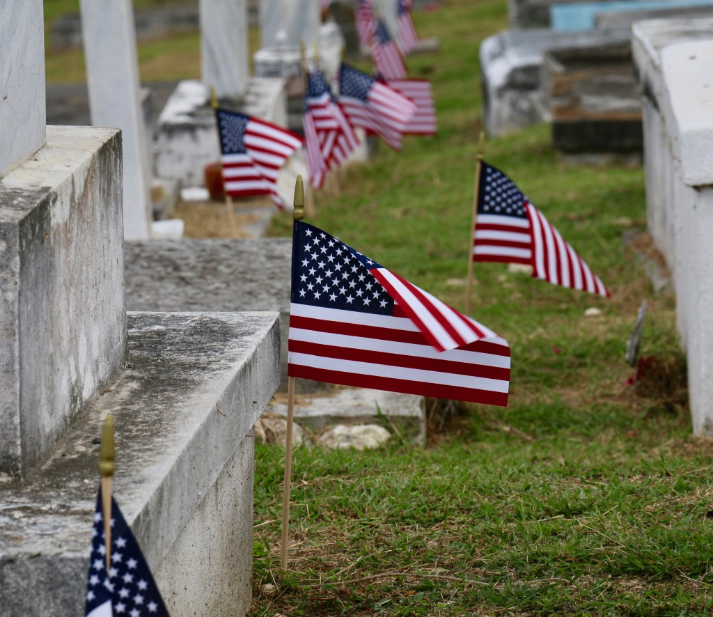 Flags adorn the graves of V.I. veterans who served their country. (Linda Morland photo)