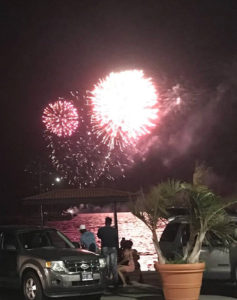 Fireworks light up the sky over Charlotte Amalie harbor Sunday night. (Photo provided by V.I. Carnival Committee)