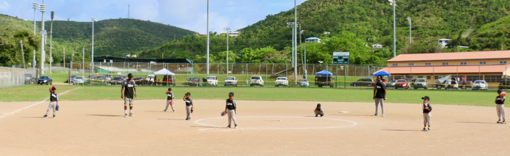The littlest of the Little Leaguers, the Panthers take the field at the top of the first inning Saturday. The Panthers include both boys and girls. (Linda Morland photo)