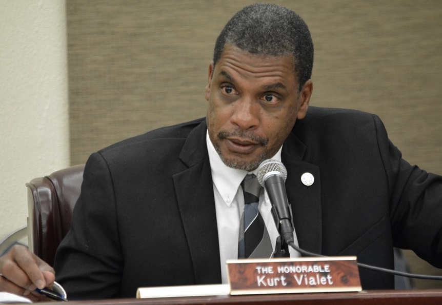 Sen Vialet introduces his school calendar bill at a committee hearing Monday. (Photo by Barry Leerdam, Legislature of the Virgin Islands)