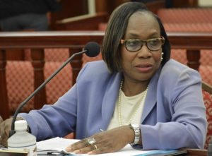 Debra Watlington testifies to the Senate Committee on Rules and Judiciary.(Photo by Barry Leerdam, Legislature of the Virgin Islands)