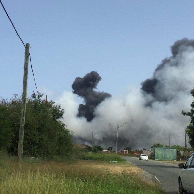 Fire Burning at Anguilla Landfill