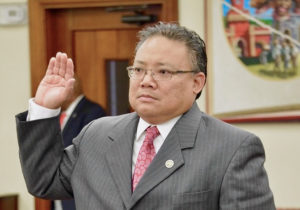 DLCA Nominee Richard Evangelista takes the oath before testifying at Thursday's Senate Rules Committee hearing. (Photo by Barry Leerdam for the V.I. Legislature)