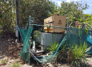 The lift station generator awaits repair so that it can pump sewage that's fouling the neighborhood.