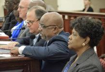 A panel of government agency representatives testify on their departments' hurricane preparedness plans. (Photo by Barry Leerdam, USVI Legislature)